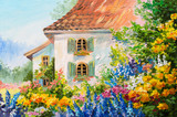 Fototapety oil painting landscape, house in the flower garden, abstract  impressionism