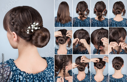 hairstyle bun with braid tutorial © alter_photo