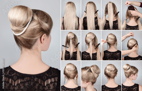 Foto op Canvas Kapsalon hairstyle with bun for long hair tutorial
