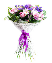 exotic bouquet with orchid and statice isolated on white backgro