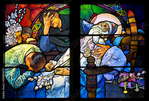 Poster Close-up of the Art Nouveau stained glass window by Alfons Mucha, St