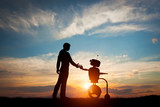 Man and robot meet and handshake. Concept of the future interaction with artificial intelligence