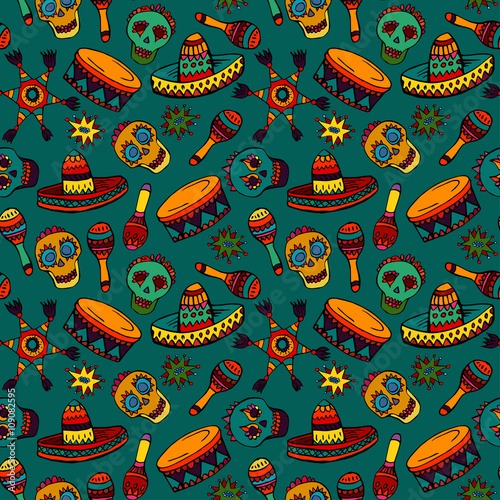 Cotton fabric Seamless pattern with mexican symbols