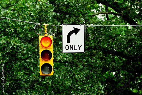 Poster traffic light and right turn only arrow before green tree
