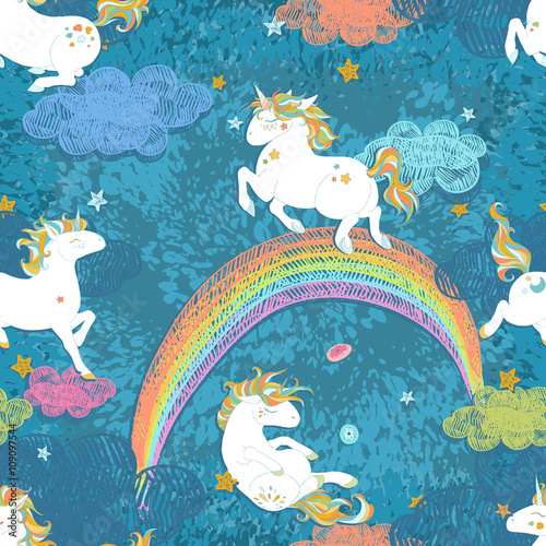Materiał do szycia Seamless pattern with Cute Baby Unicorns. Colorful night sky with rainbow, stars, clouds, freehand doodle  decoration. Hand drawn vector illustration, separated elements.