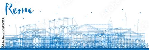 Outline Rome skyline with blue landmarks.