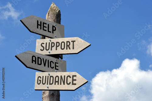 Help, support, advice, guidance signpost. Poster