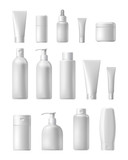 Fototapety Cosmetic brand template. Vector packaging. Oil, lotion, shampoo. Realistic bottle mock up set. Isolated pack on white background.