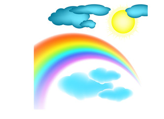 rainbow, clouds and sun. Vector illustration.
