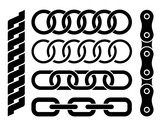 Set of different chain parts on white background, vector