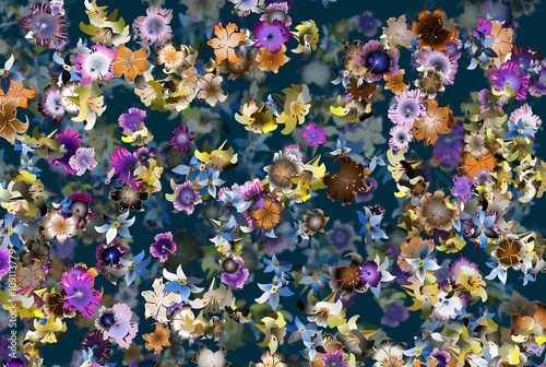 Strong colors spatial floral background - 109113779