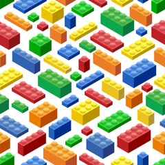 Seamless background. Isometric Plastic Building Blocks and Tiles