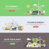 Flat designed banners- Eco Energy, Power and Energy and Save the
