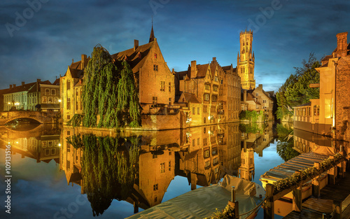 Deurstickers Brugge Bruges Canal, Belgium