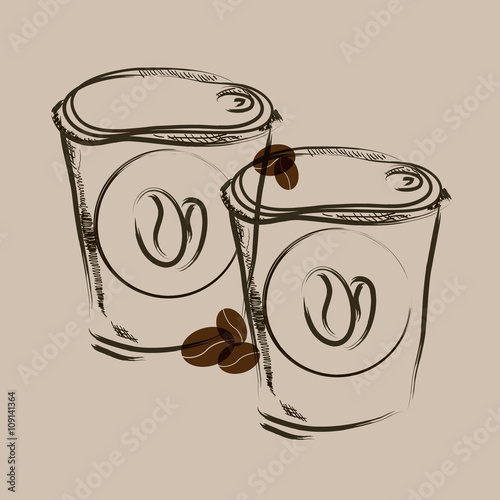Take away coffee hand draw sketch vector illustration.
