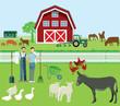 Farmer und Landwirtschaft mit Tieren