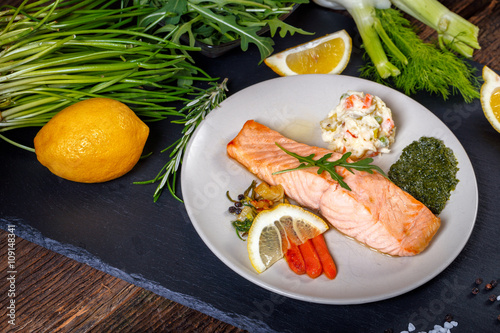 """grilled Salmon with lemon, herbs and pesto"""" Stock photo and royalty ..."""