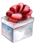 watercolor sketch: a gift with a bow on a white background