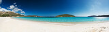 Fototapety Panoramic view of a beautiful desert beach with white sand and clear sea. Sardinia Tuerredda beach