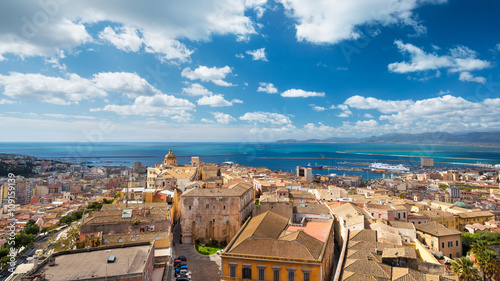 Foto op Canvas Mediterraans Europa Aerial view of Cagliari, capital of Sardinia - crop 16:9