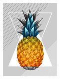 Poster with pineapple. Tropical abstract background in retro style. Image for holiday invitations, greeting cards, posters