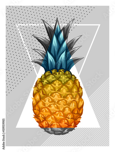 Poster with pineapple. Tropical abstract background in retro style. Image for holiday invitations, greeting cards, posters - 109159985