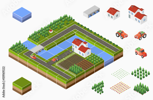 Plexiglas Boerderij Isometric landscape of countryside with farm, tractor, harvest, the beds and the river.