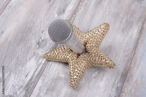 Superstar concept still life with microphone and golden star Poster