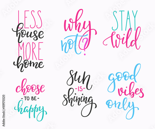 Canvas Positive Typography Lettering vector postcard quotes set