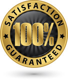100 percent customer satisfaction guaranteed golden sign with ri
