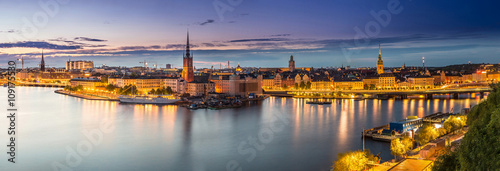 Foto op Canvas Scenic summer night panorama of Stockholm, Sweden