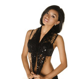 Beautiful exotic young woman. Studio shot isolated against white background.