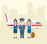 pilot and stewardess in uniform airplane in airport concept illustration