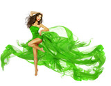Woman Dancing in Green Dress, Dancer Fashion Model with Flying S