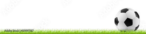 Fußball auf Gras mit weißem Hintergrund - 109197187