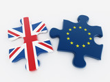 Britain and European Union flags on puzzle parts