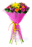 Mix bouquet of fresh flowers isolate