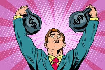 Businessman strongman lifts weights money