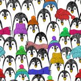 Funny Seamless Pattern With Penguins.