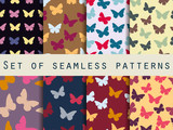 Butterfly. Set of seamless patterns with butterflies. Vector illustration.