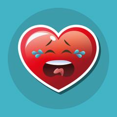 Flat illustration of cartoon face design, heart shape and love