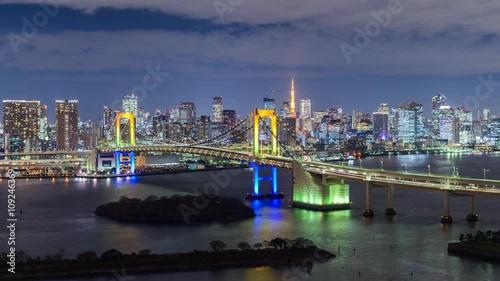 Tokyo Bay at Rainbow Bridge and Tokyo Tower.