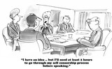 Business cartoon about a woman afraid to share her idea with her peers at work. - 109249924