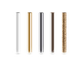 Fototapety Metal pipes set isoalted on white. Shiny metallic cylinder pipe, silver, grey, golden, chrome, steel, rusty. Gold pole design. Glossy color stick gradient graphic design. Rust column tube with hole.