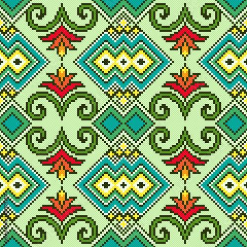 Staande foto Kunstmatig Geometrical and Floral Seamless Pattern