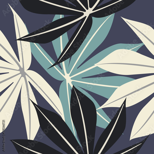 Elegant seamless pattern with tropical leaves - 109266721
