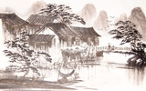 Chinese drawing water town