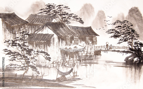 Chinese drawing water town - 109279562