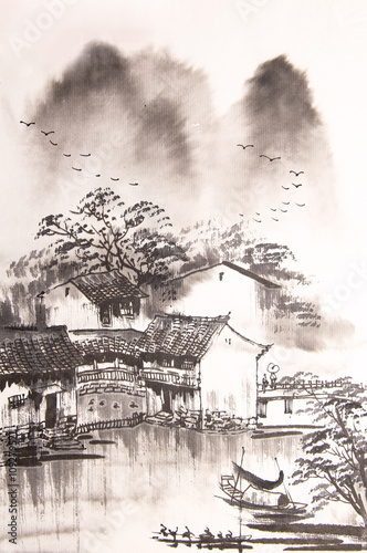 Chinese drawing water town - 109279571