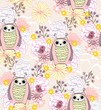 Vector illustration with cartoon owl with flowers. Seamless pattern